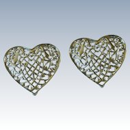 Silver Tone Large Filigree Heart Clip on Earrings