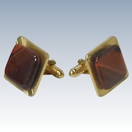 Gold Tone Square Brown Tiger Eye Stone Cufflinks