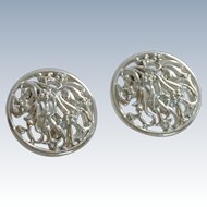 Tara Silver Tone Large Clip On Earrings