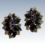 Black Jet and Diamond Rhinestone Clip On Earrings