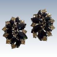 Black Jet and Diamond Rhinestone Clip On Earrings