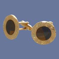 Round Gold Tone Black Onyx Tiger Eye Cufflinks Cuff Links
