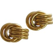 Gold Tone Loop Tube Clip On Earrings