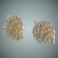 Silver Tone Clip On Strawberry Shape Earrings