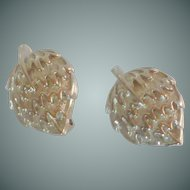 Silver Tone Clip On Strawberry Shape Earrings