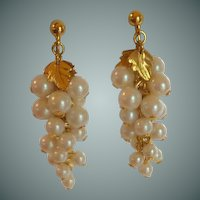 Pearl Dangle Clip On Earrings Gold Tone
