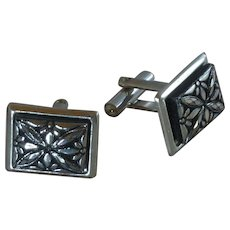 Silver Tone with Black Accent Motif Cufflinks Cuff Links