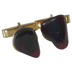 Dark Red Rock on Gold Tone Cufflinks Cuff Links