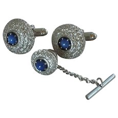 Anson Silver Tone with Blue Stone Center Cufflinks Cuff Links