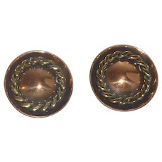 1950's Round Copper Clip On Earrings