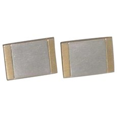 Hickok Silvertone and Goldtone Rectangular Cufflinks Cuff Links