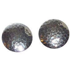 Hammered Silver Tone Round Earrings