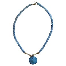 Varied Blue Bead Necklace with Sand Dollar
