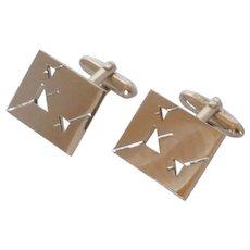 Swank Silver Tone Cut Out Triangle Cufflinks Cuff Links