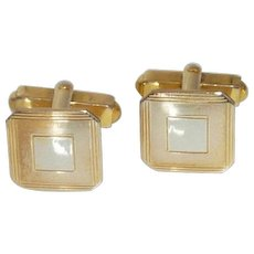 Swank Gold  & Silver Tone Small Square Cuff Links Cufflinks