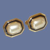Napier Clip Screw Classic Faux Pearl Earrings