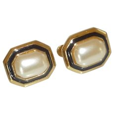 Napier Clip Screw Classic Faux Pearl Earrings