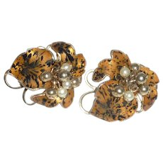 Tiger Lily Clip On Gold Tone Earrings