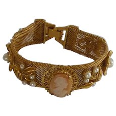 Mesh Bracelet with Shell Cameo and Faux Pearls