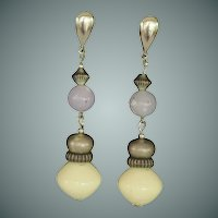 Dangle Lavender and Crème Silver Tone Earrings