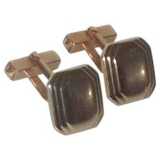 Signed Swank Square Gold Tone Cuff Links Cufflinks