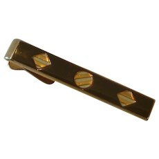 Swank Brown Enamel Gold Tone Alligator Clip Tie Bar