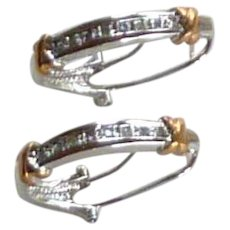 Silver Tone and Gold Tone Loop Pierced Faux Diamond Earring
