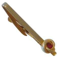 Hickok Gold Tone Tie Bar Clip with Ruby Red Rhinestone