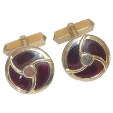 Swank Gold Tone Ruby Red Lucite Cufflinks Cuff Links