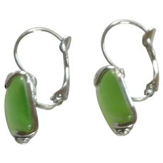 Faux Moonstone Green Silver tone Pierced Earrings
