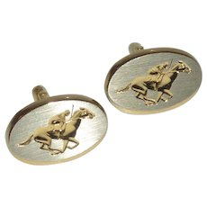 Racing Horse Equestrian Silver and Gold Tone Cuff Links Cufflinks