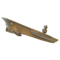 Pewter Aircraft Carrier Boat Tie Bar Clip