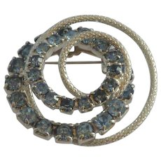 Baby Blue Rhinestones Silver Tone Small Pin