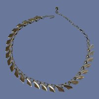 Signed 1950 Mid Century Silver Tone Necklace