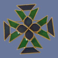 Florenza Blue and Green Enamel Gold Tone Pin Brooch