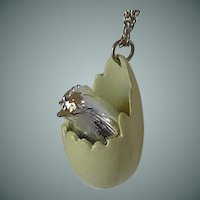 Chicken in Cracked Yellow Egg Pendant