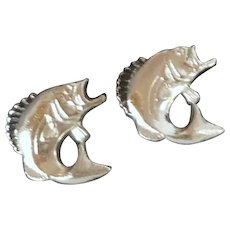 Silver Tone Bass Fish Cufflinks Cuff Links