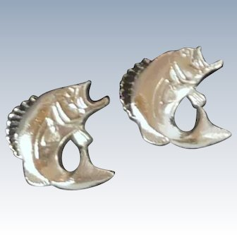 Silver Tone Bass Fish Cufflinks Cuff Links