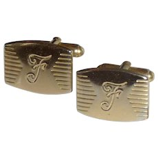 Gold Tone Initial F Cuff Links Cufflinks