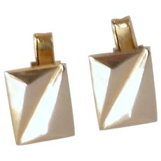 Gold Tone Rectangular Shape Cuff Links Cufflinks
