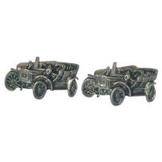 Silver Tone Old Jalopy Car Cufflinks Cuff Links