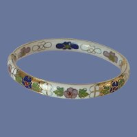 White Cloisonné Floral Hinged Bangle Bracelet