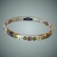 White Cloisonné Floral Hinged Bangle Bracelet