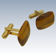 Tiger Eye Polished Stone Cufflinks Cuff Links