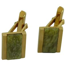 Gold Tone Green Jade Stone Cuff Links Cufflinks