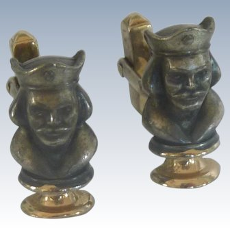 King Head Chess Piece Pewter Like Cuff Links Cufflinks