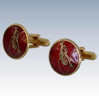 Red Enamel High Wheel Bicycle Cufflinks Cuff Links