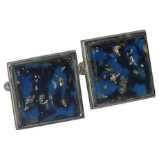 Shields Blue Stone with Confetti Silver Tone Cufflinks Cuff Links