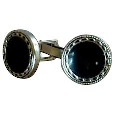 Black Western Button Look Cuff Links Cufflinks