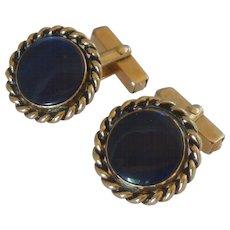 Blue Gold Tone Swank Round Cufflinks Cuff Links